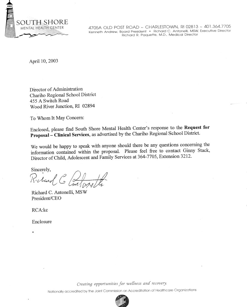 south shore mental health center 2003 rfp bid chariho